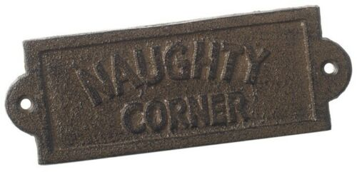NEW Cast Iron Naughty Corner Step Vintage Style Metal Plaque Sign home garden