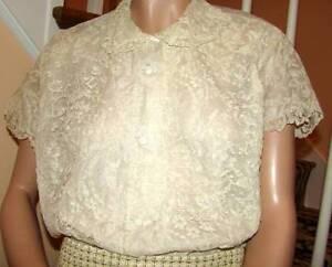 630b0cc8c5c62 Image is loading Vintage-1950s-Alencon-Lace-Nylon-Blouse-Modern-Size-
