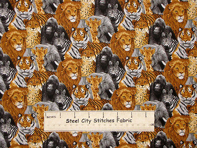 Its A Jungle Out There Lion Giraffe Tiger Zebra Toucan Animal Cotton Fabric YARD