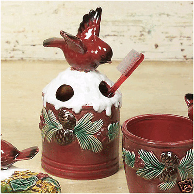 Cardinal Toothbrush Holder with Holly /& Snow