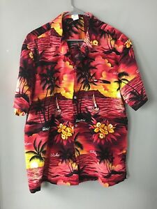 Royal-Creations-Sz-XL-Hawaiian-Aloha-Shirt-Sunset-Hawaii-Palms-Orchids-Beach-Vtg