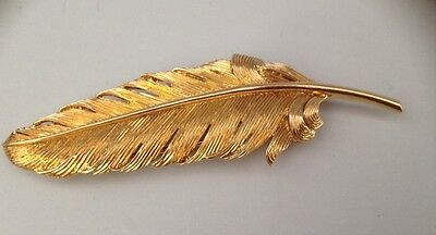 Vintage Cartier 14k Gold Feather Pin Brooch Scarf Clip