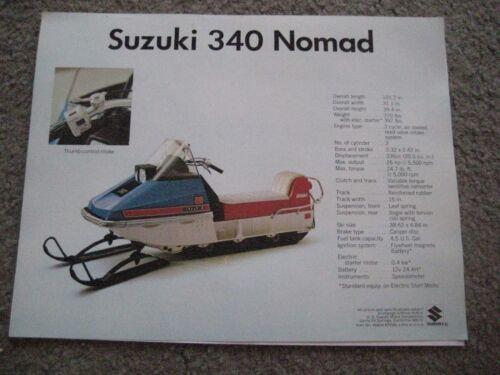 SUZUKI SNOWMOBILE 340 NOMAD//292 NOMAD FACTORY SALES BROCHURE NOS!