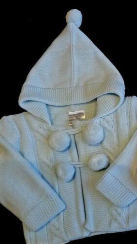Baby Boys Girls Pom Pom Spanish Knitted Cardigan Pram Coat Pink Blue White 0-24m