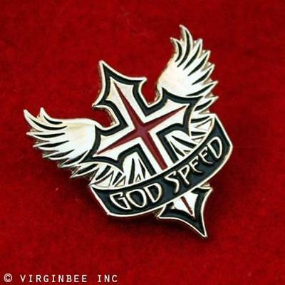 GODSPEED WINGED CROSS CHRISTIAN WINGS SPIRITUAL GIFT LAPEL PIN IN SMALL BOX
