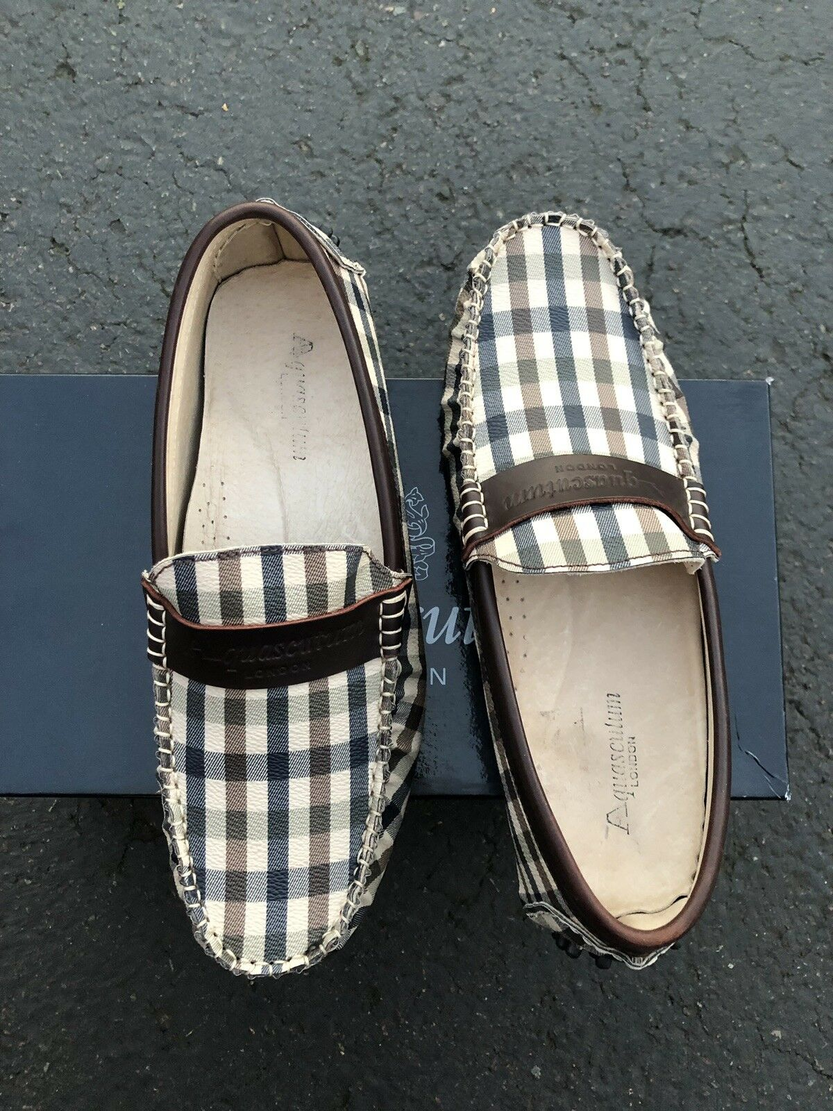 AQUASCUTUM shoes Loafers Men's Size 6 1 2 Genuine Made in ITALY