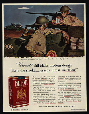 1941 WWII Soldiers Armored Scout - Machine Gun - PALL MALL FALTER ART VINTAGE AD