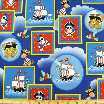 Dead Mans Cove Pirate Ships, Treasure And Skulls 100% Cotton Fabric