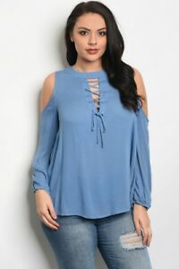 c65266f30b0 Women s Plus Size Indigo Blue Long Sleeve Cold Shoulder Laced Neck ...