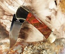 #2602PCS REDRUMMD CUSTOM BUCK 112 KNIFE WITH MOROCCAN AGATE SLAB SCALES