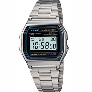 Casio-A158WA-1-Classic-Black-Face-Stainless-Steel-Band-Unisex-Digital-Watch