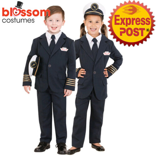 CK1088 Qantas Captain Uniform Child Pilot Boys Girls Airline Flight Kids Costume