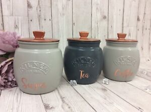 Details About Kilner Jars X3 Tea Coffee Sugar Canisters Set In White Grey Black Copper