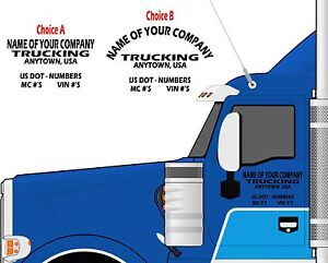 Semi Truck Door Lettering Your Company Name Town
