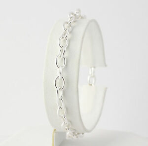 Cable-Chain-Bracelet-7-034-Sterling-Silver-Women-039-s-Starter-Charm-Lobster-Clasp