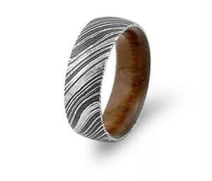 HANDMADE-DAMASCUS-STEEL-WOOD-SLEEVES-RING-WITH-GIFT-BOX