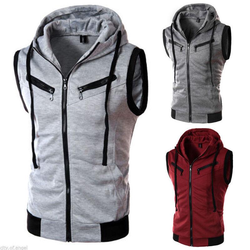 Men Hoodie T-Shirt Short Sleeve / Sleeveless Hooded Sweatshirt Tops Activewear Activewear