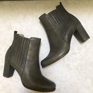 Ecco-Leather-Heeled-Boots-Booties-Blue-Gray-NWOB-Size-EU-41-US-10-10-5