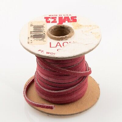 """NEW LEATHER SUEDE LACE 1//8/"""" x 25 yds Beige 1 roll TANDY TEJAS ."""