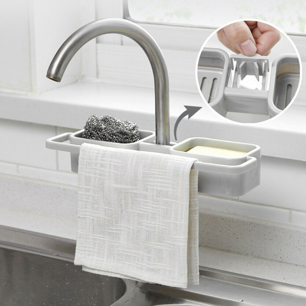 HB- Kitchen Sink Faucet Sponge Soap Drain Storage Rack Organizer Holder Shelf Gr