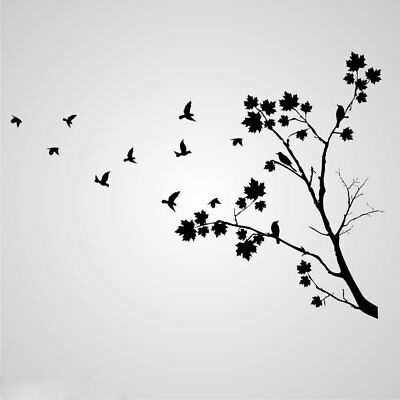 Tree Flying Birds Sizes Reusable Stencil Wall Decor Shabby Chic Art T48 Ebay
