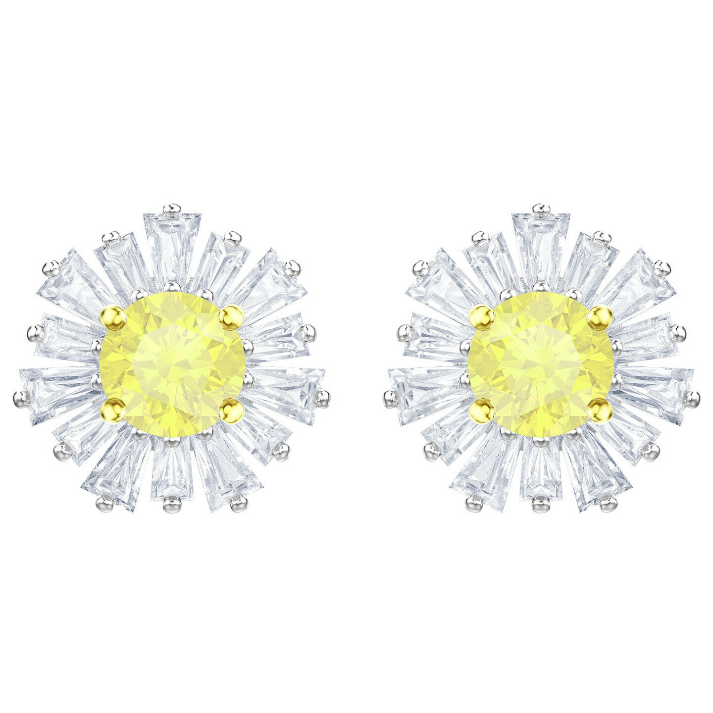 Swarovski 5459591 Sunshine Pierced Earrings, White, Rhodium Plating  RRP  149