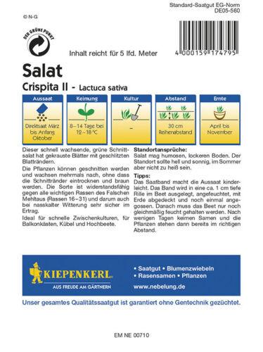 Crispita II Salat Schnittsalat MHD 01//21 Saatband Kiepenkerl 2479
