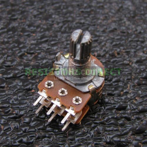 3x 50K OHM Linear Taper Dual Gang Rotary Potentiometers B50K Black Knob 3pcs U34