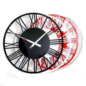 Roco-Verre-Acrylic-Gloss-Skeleton-Roman-SMALL-Wall-Clock