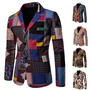 b39a3640f2c Mens Floral Print Casual Slim Fit Two Button Suit Blazer Coat Jacket ...