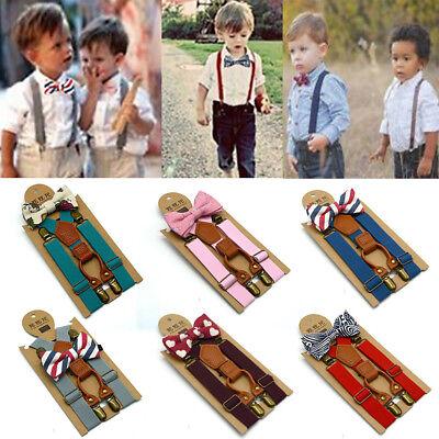 1x Matching Braces Suspenders and Luxury Bow Tie Set Kids Children Boys Wedding