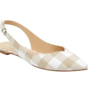 Marc Fisher LTD Slingback Flat Shoe Size 6 Beige Sling Back plaid Samera pointed