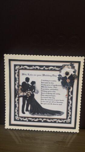 Handmade Decoupaged Elegant Poem Card Topper for Wedding Day //6 x 6 inch card