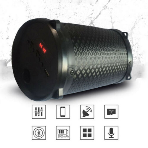 Portable Wireless Bluetooth Speaker HIFI Subwoofer Bass Stereo Cylinder SD FM US