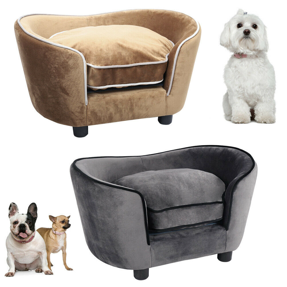 Pet Cat Dog Bed Sofa Chair Wood Frame Fleece Kennel House Puppy Cat Rest Sofas