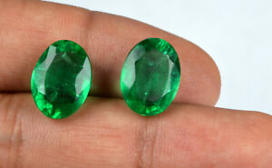100-Natural-Oval-Muzo-Colombian-Emerald-Ring-Size-Pair-13-15-Ct-AGSL-Certified