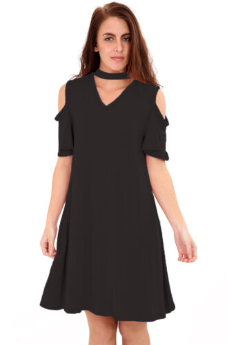 New Ladies Stylish Girls Frill Sleeve Choker V Neck Swing Dress Size UK 8-26