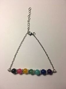 Fashion Jewelry Seven Chakra Seven Colors Crystal Agate Jade Bead Metal Anklet-a100 Anklets