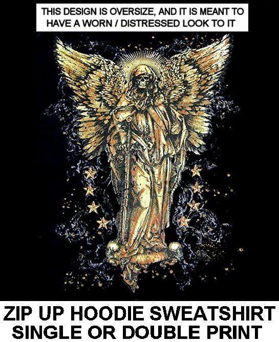 GRIM REAPER FALLEN ANGEL DEATH SKELETON WINGS SWORD SKULL ZIP HOODIE SWEATSHIRT