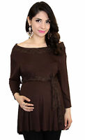 Brown Solid Lace Detail Maternity Clothes Basic Top Long Sleeve