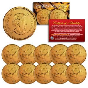 2005-Canadian-Caribou-Quarter-UNC-Queen-Elizabeth-II-24K-GOLD-Plated-QTY-10