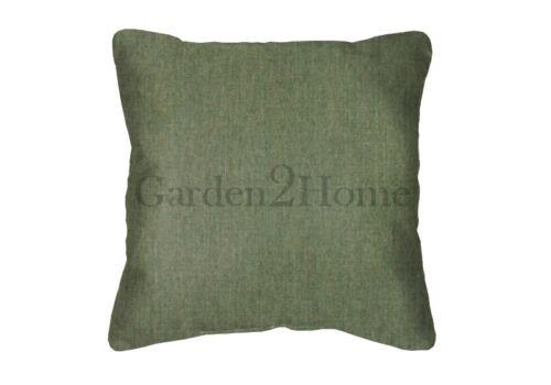 Solid Green Square Acrylic Throw Pillows Sunbrella Canvas Fern 5487 Set//2