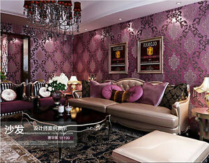 WALL-PAPER-WALLPAPER-ROLL-DAMASK-EMBOSSED-FEATURE-3D-TEXTURED-LUXURY-PURPLE