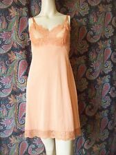 Vintage Vassarette Orange Empire Silky Nylon Mini Slip Lingerie 34