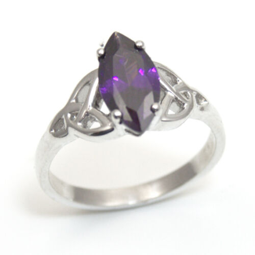 Trinity Knot Ring 1.5ct Marquise Amethyst Diamond-Unique Sterling Silver