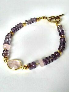Armband-Amethyst-und-Rosenquartz-925-Silber-vergoldet