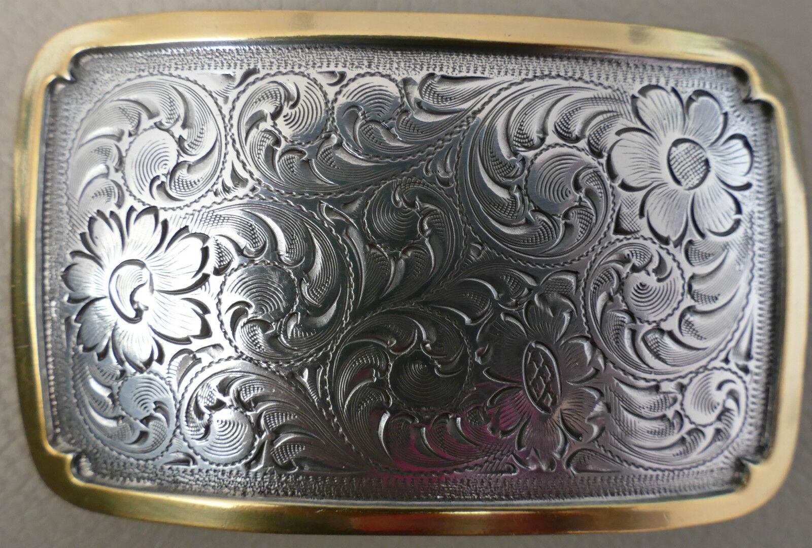 Western Western Western Buckle floral sqare Gold vaquero adorno en la cintura 926d93