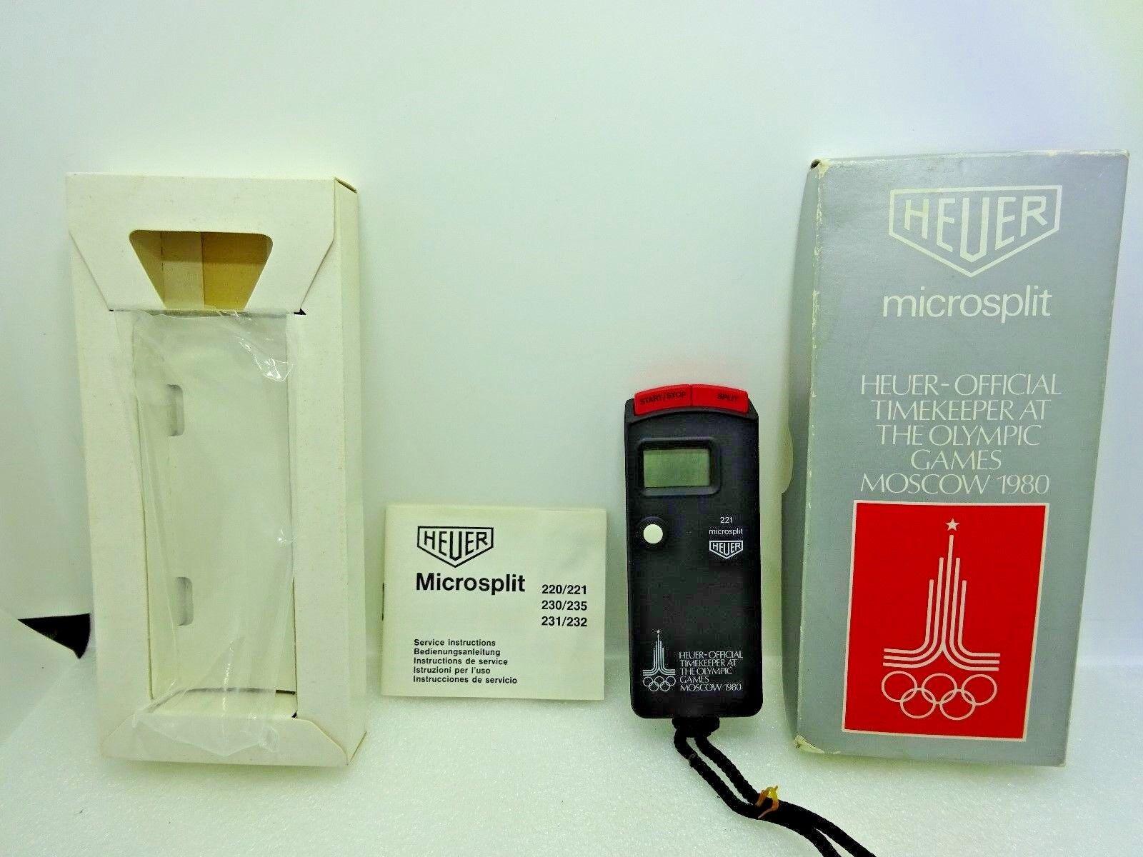 NOS Vintage Heuer MS 221 Microsplit Stopwatch Moscow 1980 Summer Olympics Editio