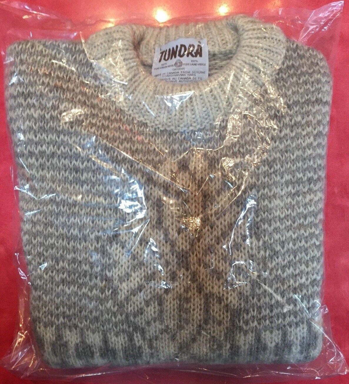 TUNDRA  Herren Pullover 100% Virgin Wool CANADA grau  Sweater  L NWOT