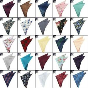 Pocket-Squares-Handkerchief-Men-039-s-Floral-Stripes-Check-Tartan-Hanky
